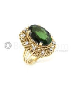 18kt Yellow Gold, Green Tourmaline and Diamond Lady's Ring - 17.85 grams - EST1014