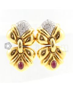 18kt Yellow Gold, Diamond and Ruby Lady's Drop Earrings, Pair - 28.40 grams - EST1037