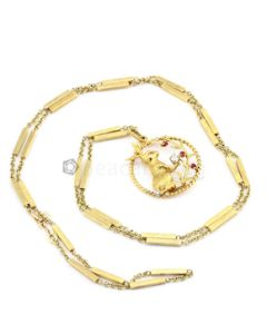 """14kt Yellow Gold, Diamond and Ruby Bunny Pendant and Neck Chain, L.36"""" - 41.40 grams - EST1042"""