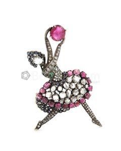 "18kt White Gold, Ruby, Diamond, Sapphire and Emerald Ballerina Pin/ Pendant, L.2 3/4"" - 15.00 grams - EST1121"