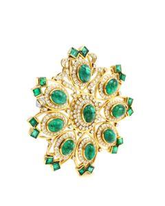 "Yellow Gold, Emerald and Diamond Brooch, Dia. 2 1/4"" - 28.40 grams - EST1123"