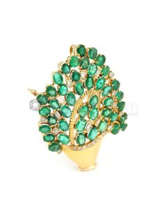 """18kt Yellow Gold, Emerald and Diamond Lady's Pin/Pendant, H. 2 1/4"""" - 26.20 grams - EST1127"""