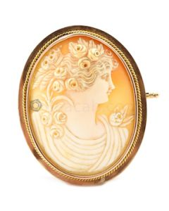"""14kt Rose & Yellow Gold Shell Cameo Pin, L.2 1/4"""" - 19.10 grams - EST1135"""