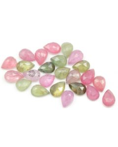 7.70 x 5.70 mm - Medium Tones Multi-Sapphire Pear Rose Cuts - 24 Pieces - 30.00 carats - MSRC1084