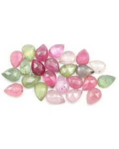7.50 x 5.50 to 8.20 x 5.60 mm - Medium Tones Multi-Sapphire Pear Rose Cuts - 24 Pieces - 30.50 carats - MSRC1085