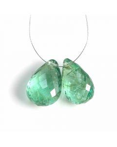 2 Pcs - Medium Green Emerald Drops - 6.34 ct. - 11 x 7.5 mm & 11.2 x 8 mm (EDR1101)