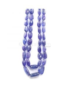 2 Lines - 650.00 ct. - Violet Tanzanite Tumbled Beads - 7.5 x 7 mm to 21 x 16 mm - 18 to 20 in. (TZTUB1093)