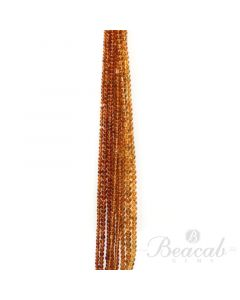 10 Lines of Dark Yellow Citrine Plain Beads - 3 to 5 mm - 15 in. (CITSB1041)