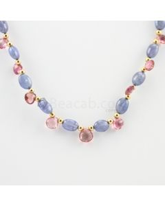 7 to 7.50 mm - 1 Line - Tanzanite Tumbled Beads Necklace - 69.00 carats (CSNKL1123)